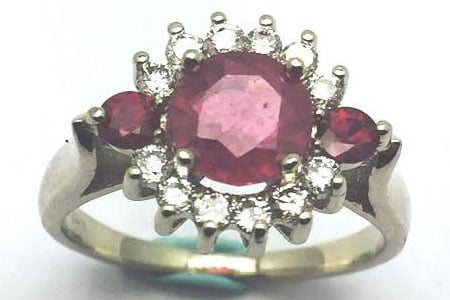 Ladies ruby and diamond ring in 14k white gold