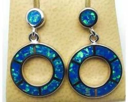 Sterling silver earrings with created opal
